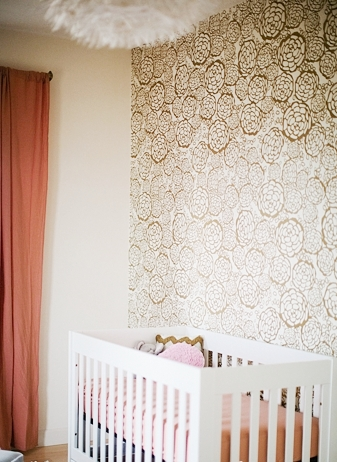 Pam cooley baby room nursery crib gold white floral wallpaper