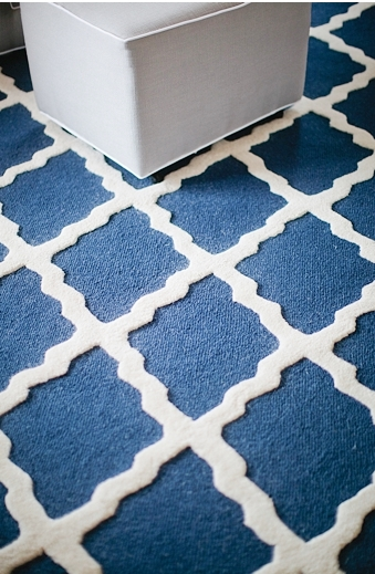 Pam cooley baby room nursery navy blue white rug carpet moroccan moorish pattern close up